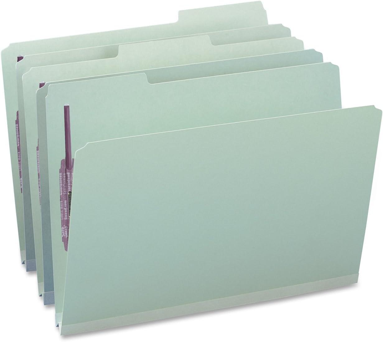 Smead 19944 Three Inch Expansion Fastener Folder 1//3 Top Tab Legal Gray Green 25//Box