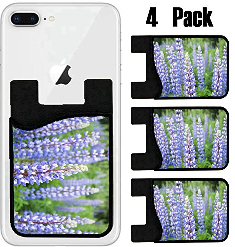 MSD Phone Card holder sleeve wallet for iPhone Samsung Android and all smartphones with removable microfiber screen cleaner Silicone card Caddy(4 Pack) IMAGE ID 20671704 Colorful Lupine flowers in - Lupine Returns