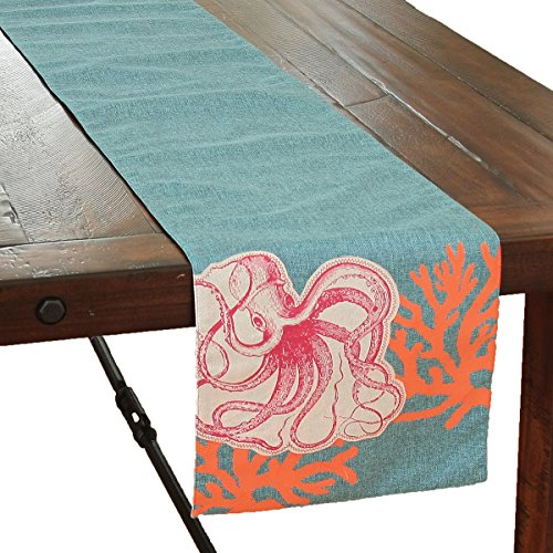 - Xia Home Fashions Applique Octopus with Print Coral Coastal Table Runner, 13.5 by 72-Inch, Sea Blue