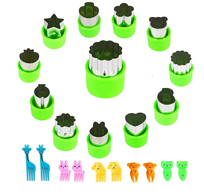 Vegetable Cutters Shapes Set, 12pcs Stainless Steel Mini Cookie Cutters, Vegetable Cutter and Fruit Stamps Mold + 10pcs Cute Cartoon Animals Food Picks and Forks -for Kids Baking and Food Supplement