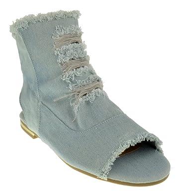 Bamboo Cure 08 M Womens Ripped Denim Open Toe Flat Sandals   B07BV3WL1N