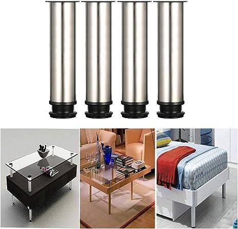 Qrity 4 unidades Patas de Metal muebles regulables armario de cocina pies redondo - Metal cromado - Altura ajustable (Total: 200-215mm): Amazon.es: Bricolaje y herramientas