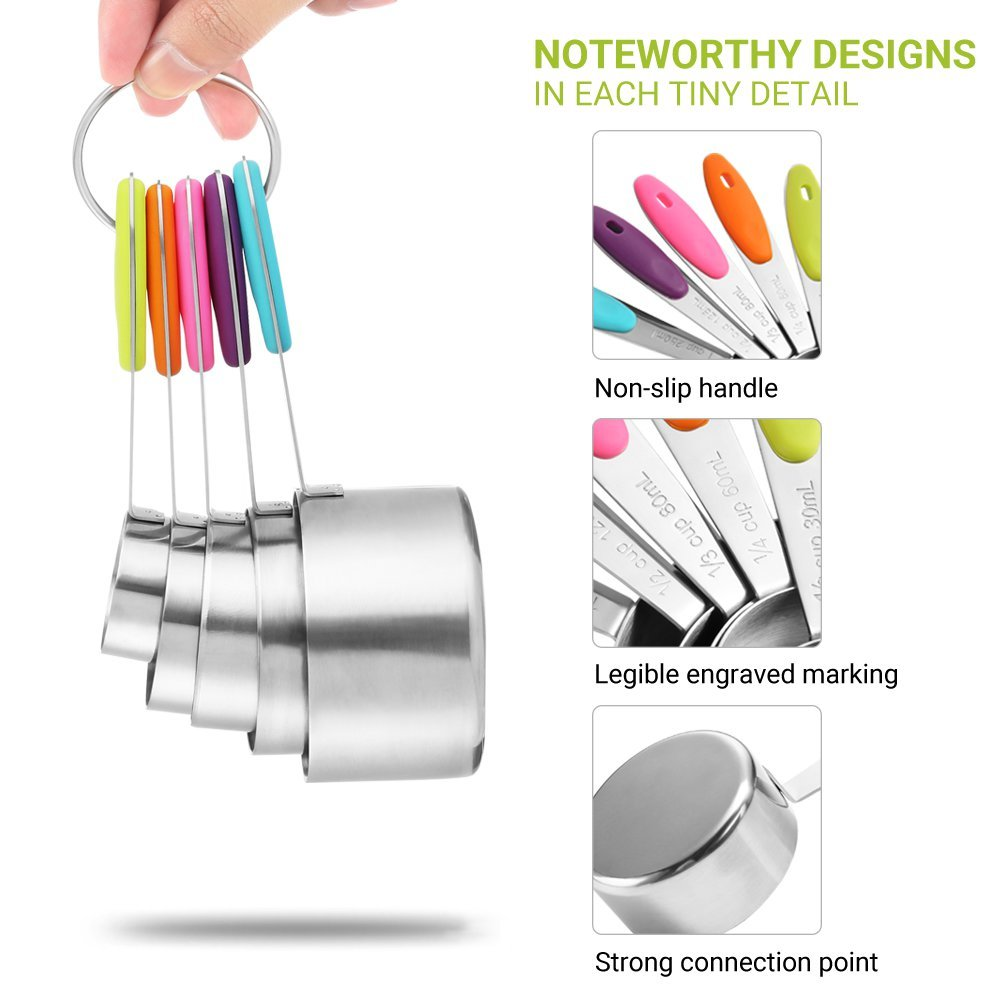 zanmini Measuring Cups and Spoons Set of 10 Tool/&Utensils for Cooking Baking Including 5 Stainless Steel Measuring Cups and 5 Measuring Spoons with Colored Silicone Handle Small Home Kitchen Gadget