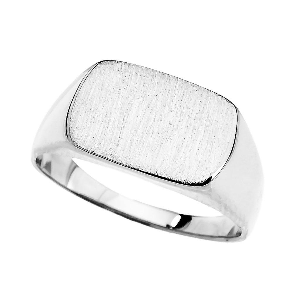 Fine 10k White Gold Engravable Rectangular Signet Ring (Size 7.25)
