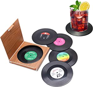 Set of 6 Cute Retro Vinyl Coasters - Funny Record Decoration Disk Furniture - Creative Drinks Equipment Music Ideas for Bar, Home, Restaurant, Apartment, Room - Mini Decor Drink Cup Stuff Holder Tool