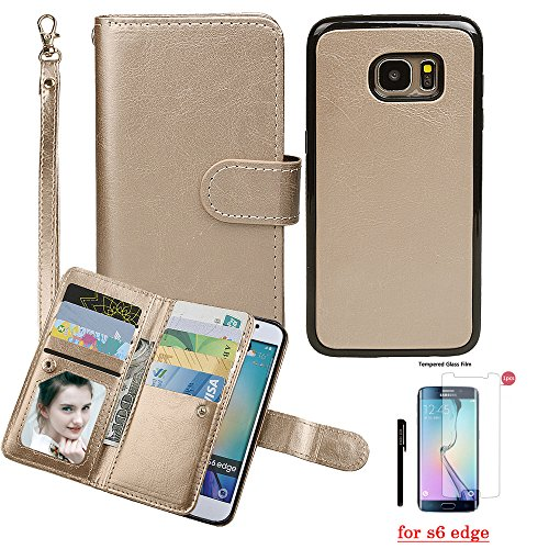 Case for Samsung S6 Edge,xhorizon TM SR [Upgraded] Premium Leather Wallet [Magnetic Detachable][Magnetic Car Mount Phone Holder Compatible] Folio Cover for Galaxy S6 Edge with 9H Tempered Glass Film from xhorizon