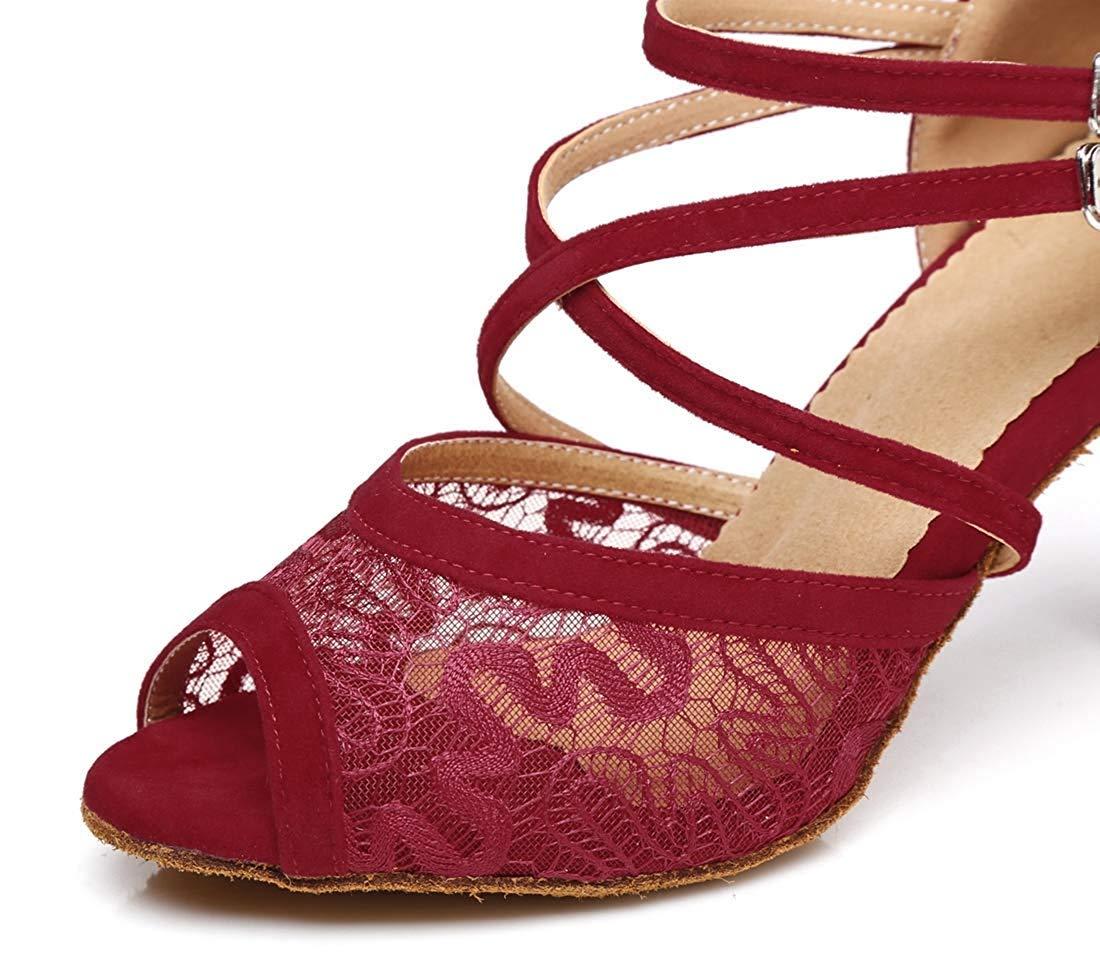 Qiusa Frauen Floral Mesh Knöchelriemen Schnalle Schnalle Schnalle Stlietto Heels Tanzschuhe Abend Sandalen (Farbe   Burgundy Größe   4.5 UK) e182c5