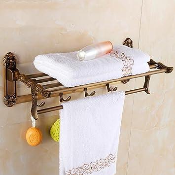 CHENGYI Tablettes porte-serviettes Rétro salle de bains murale ...