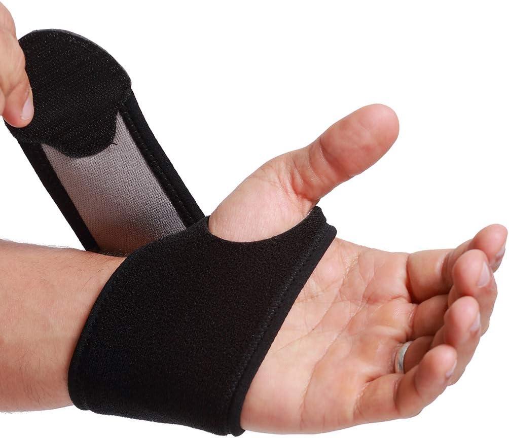 Muñequera ancha de sujeción (1 Unidad) - Ligera, elástica y transpirable - Compresión ajustable - Marca Neotech Care - Negro (Talla M)