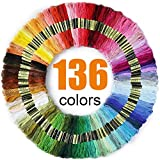 Premium Rainbow Color Embroidery Floss 136 Skeins Per Pack with Cotton for Cross Stitch Threads, Bracelet Yarn, Craft Floss, Embroidery Floss Set: more info