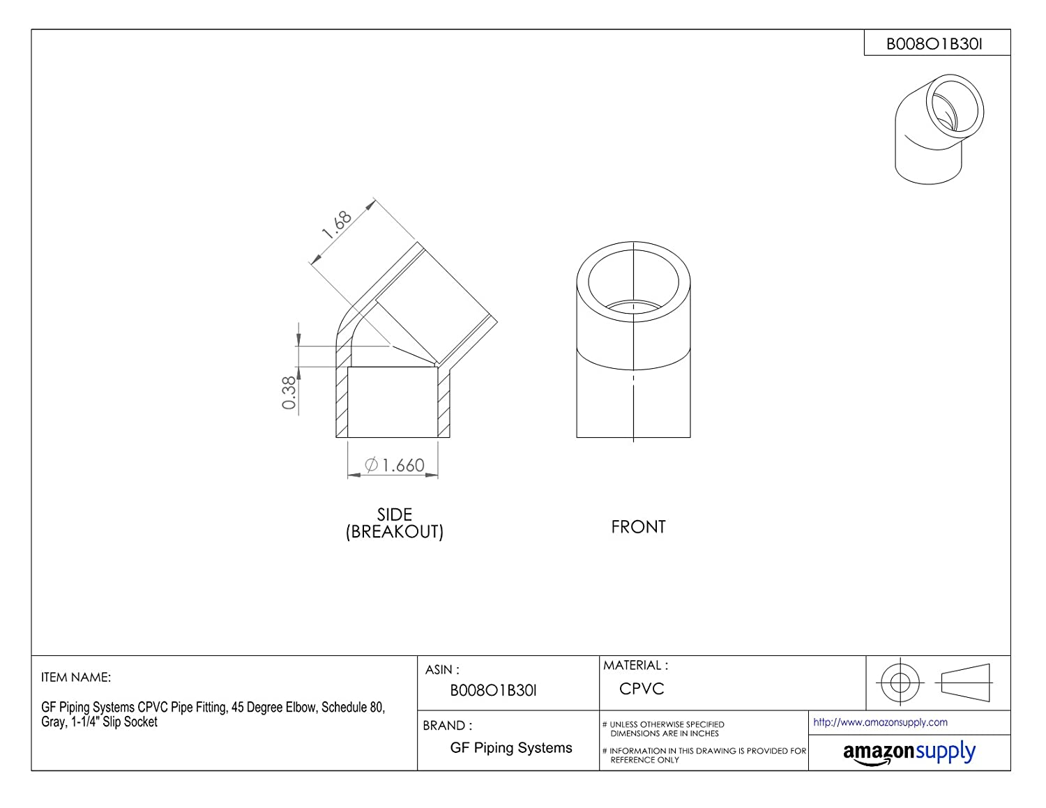 Gray 45 Degree Elbow 3//4 Slip Socket Schedule 80 GF Piping Systems CPVC Pipe Fitting