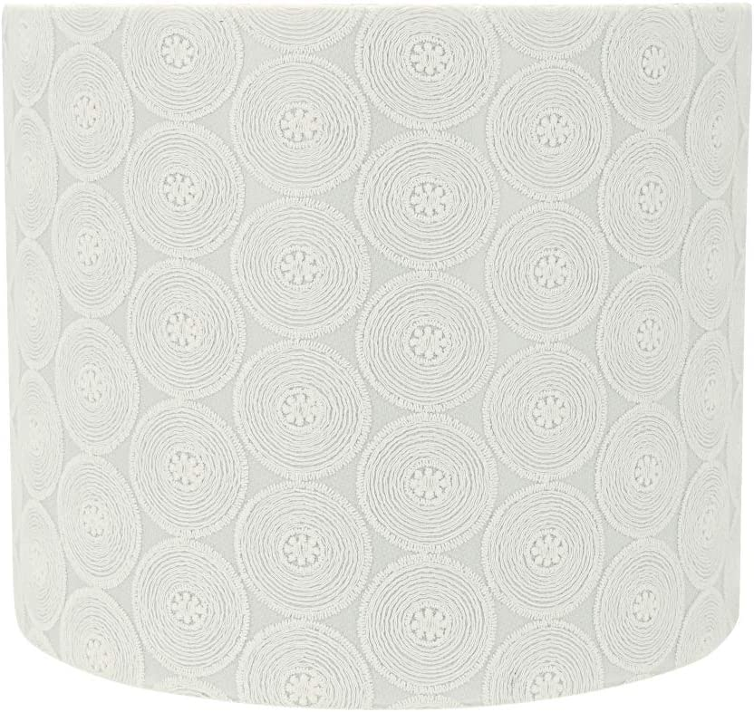 "Aspen Creative 31093 Transitional Drum (Cylinder) Shaped Spider Construction Lamp Shade in White, 12"" Wide (12"" x 12"" x 10"")"