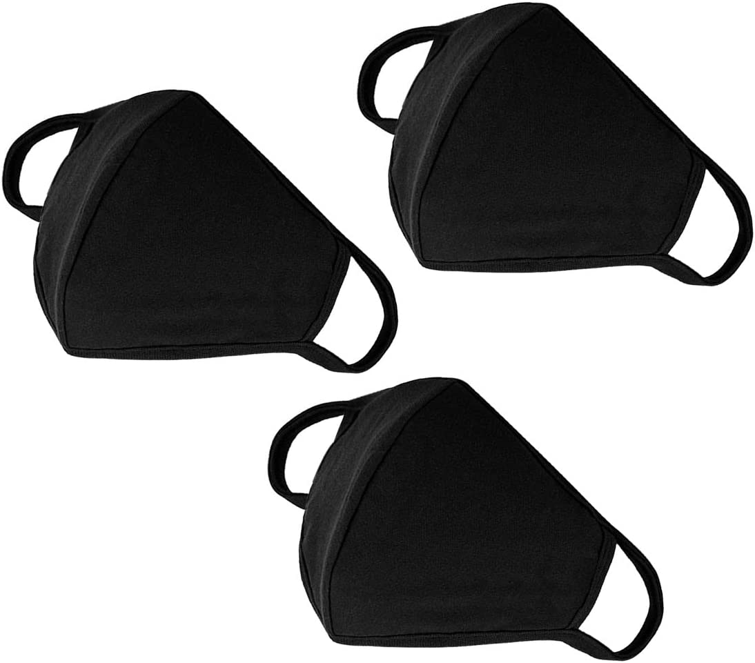 Fashion Mouth Protection Unisex Washable and Reusable Cotton Warm Face Protection with Adjustable Bridge Design (3-Pack Black)