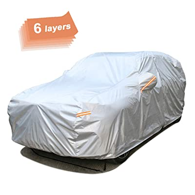 SEAZEN Car Cover 6 Layers, Waterproof SUV Car Cover with Zipper Door, Snowproof/UV Protection/Windproof, Universal Car Covers Breathable Fabric with Cotton (Length Up to 190''): Automotive