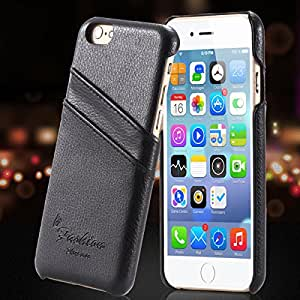 Cell Buddy Back Cover For iPhone 6 Card Holder Cases Fashion Lychee Genuine Leather Case For Apple iphone 6 Plus 5.5'' Bigger Back Shell --- Color:black