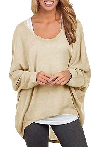 Thanth Women's Casual Baggy Off Shoulder Long Sleeve Solid Color Pullover Shirts Tops