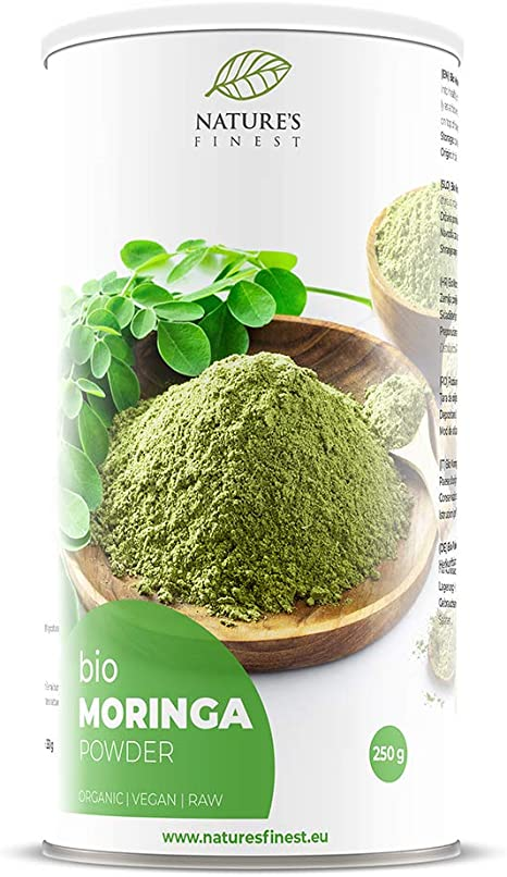Natures Finest Moringa en polvo Bio 250g   Superalimento orgánico crudo   Rico en vitaminas, minerales y proteínas   Vegetariano y vegano