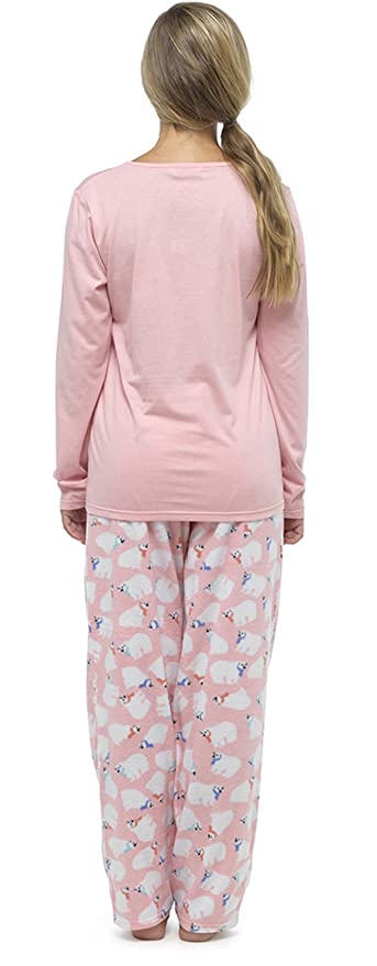 Mujer Forro Polar Estampado Purpurina Navidad /Invierno Pijama Conjunto con Fondos De Paño Grueso Y Suave: Amazon.es: Ropa y accesorios