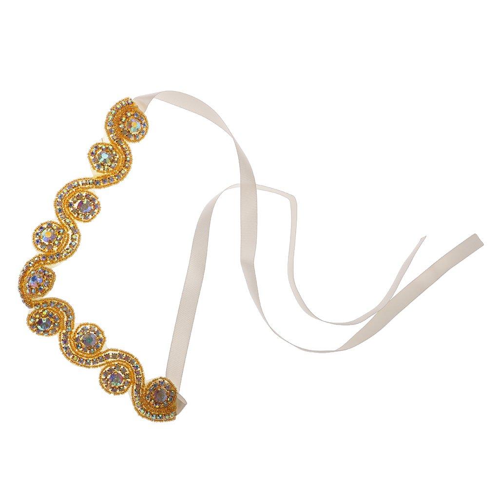 MagiDeal Crystal Rhinestone Flapper Headband 1920s 1930s Great Gatsby Hair Jewelry Wedding Bridal Waist Band - Silver STK0156012957
