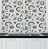 Ambesonne Geometric Kitchen Curtains, Graphic Circle Texture Motif on White Background Rounded Style Illustration, Window Drapes 2 Panels Set for Kitchen Cafe, 55W X 39L Inches, Grey White Black