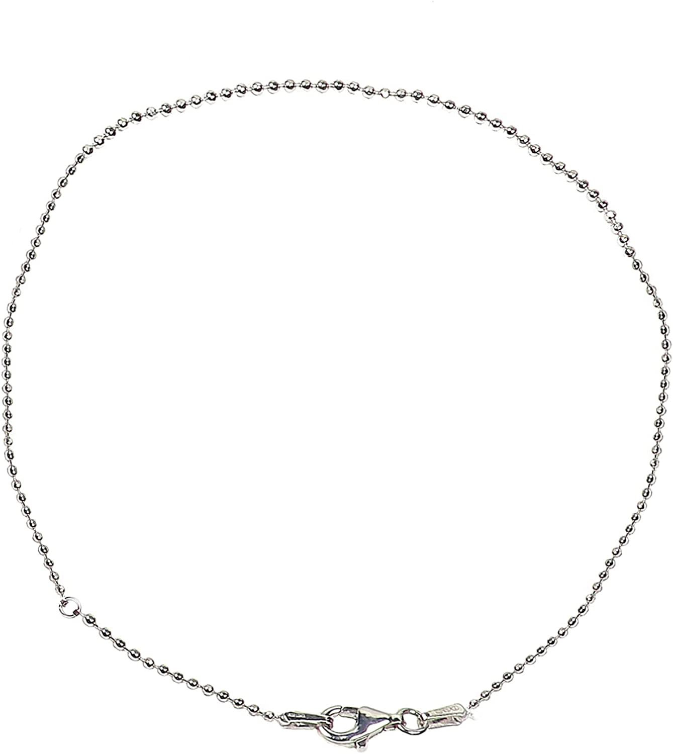 Chains .925 Sterling Silver 2.00MM Beaded Link Necklace