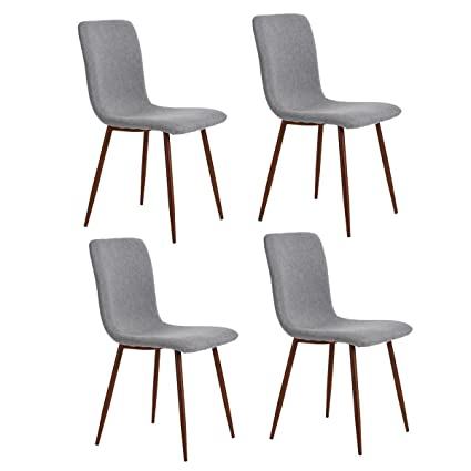 HOMYCASA Set Of 4 Dining Chairs Retro Style Fabric Seat Back With Metal Legs PVC