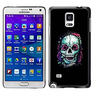 Shell-Star Arte & diseño plástico duro Fundas Cover Cubre Hard Case Cover para Samsung Galaxy Note 4 IV / SM-N910F / SM-N910K / SM-N910C / SM-N910W8 / SM-N910U / SM-N910G ( Teal Skull Purple Nature Tattoo Ink Black )