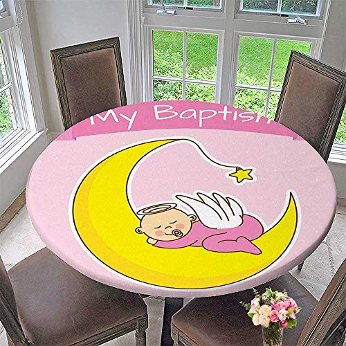 Mikihome The Round Table Cloth Collection Baby Sleeping on The Moon Girl Baptism Birth Announcement Cartoon Illustration Image for Birthday Party, Graduation Party 47.5