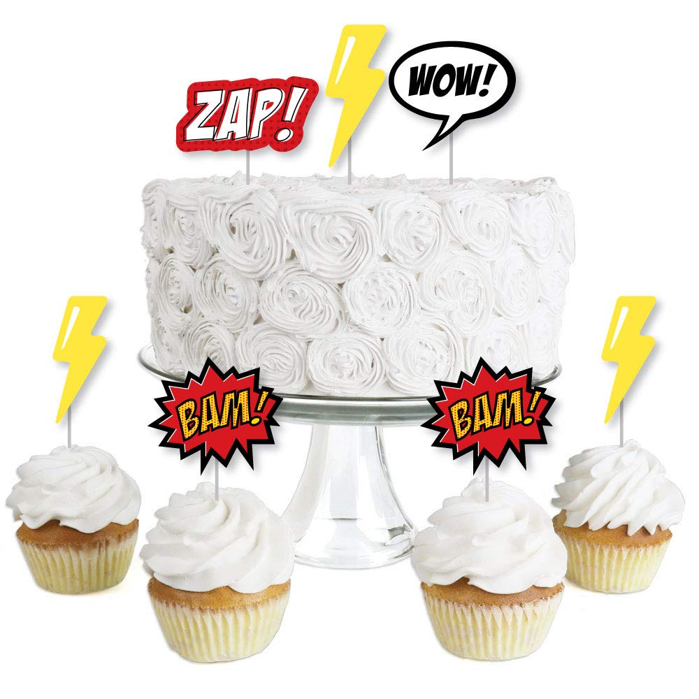 BAM Baby Shower or Birthday Party Clear Treat Picks Superhero Dessert Cupcake Toppers Set of 24