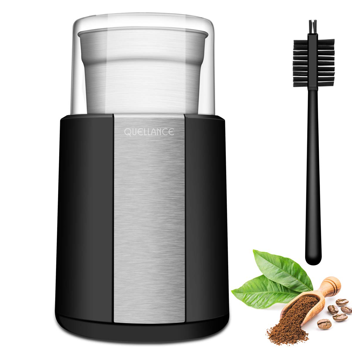 QUELLANCE Electric Coffee Grinder, Stainless Steel Blades Coffee and Spice Grinder with 2.5 Ounce Removable Cup, Powerful 200W Electric Mills for Most Efficient Grinding, Black