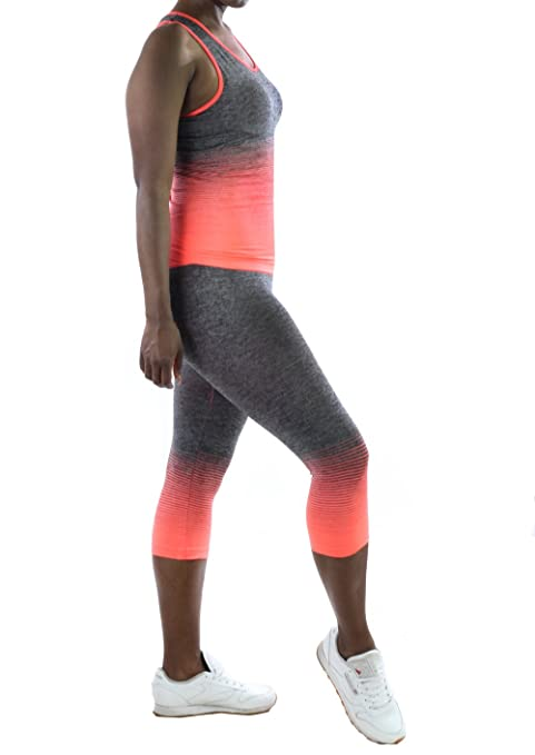 9e8bf274b50a59 Women's Yoga Tank Top and Leggings Set (Neon Orange, One Size) at Amazon  Women's Clothing store: