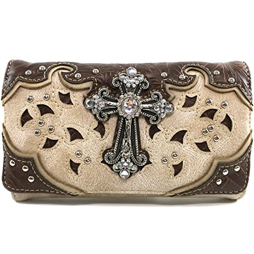 Justin West Tooled Leather Laser Cut Rhinestone Cross Studded Shoulder Concealed Carry Tote Style Handbag Purse (Beige Wallet)