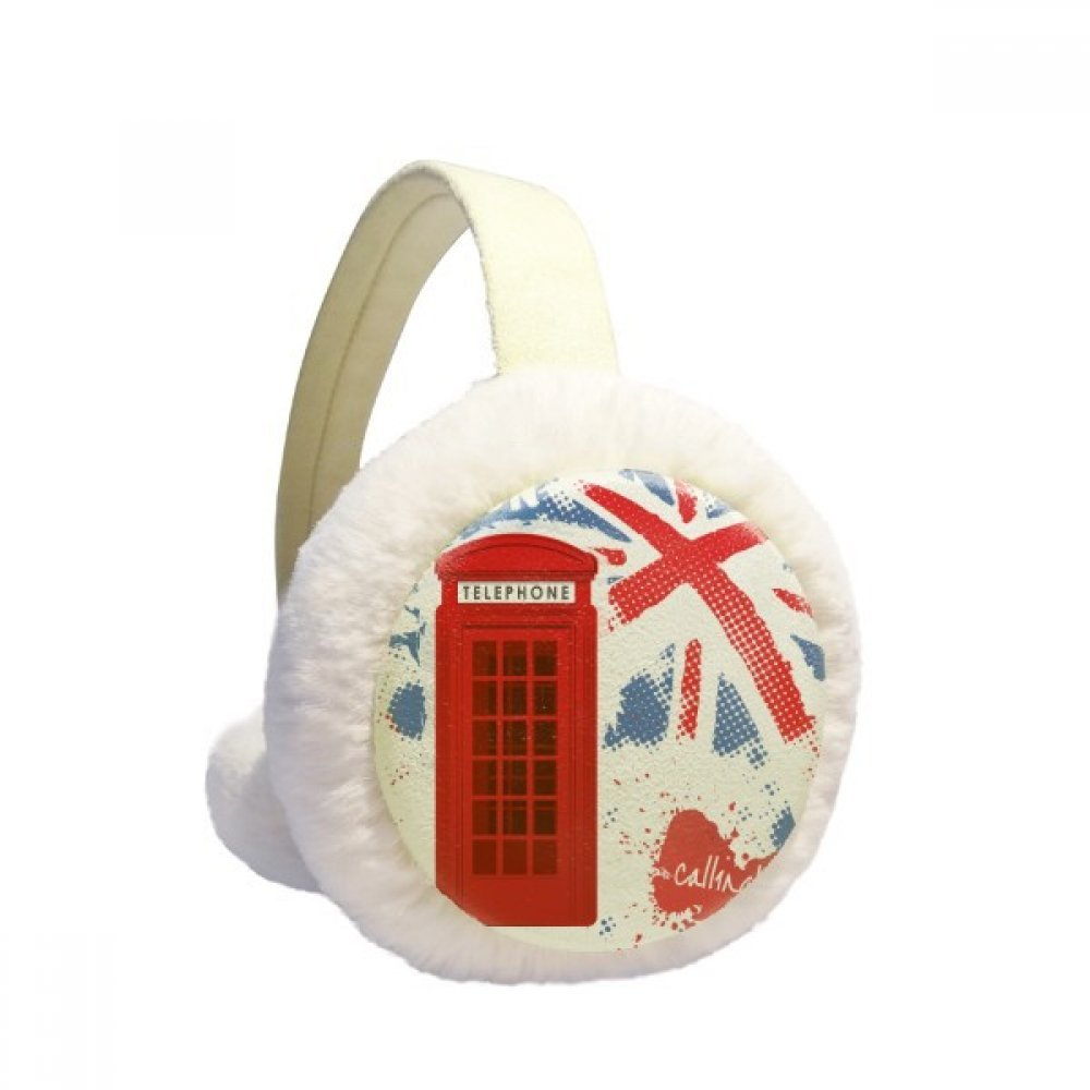 Britain UK London Flag Red Telephone Booth Winter Earmuffs Ear Warmers Faux Fur Foldable Plush Outdoor Gift