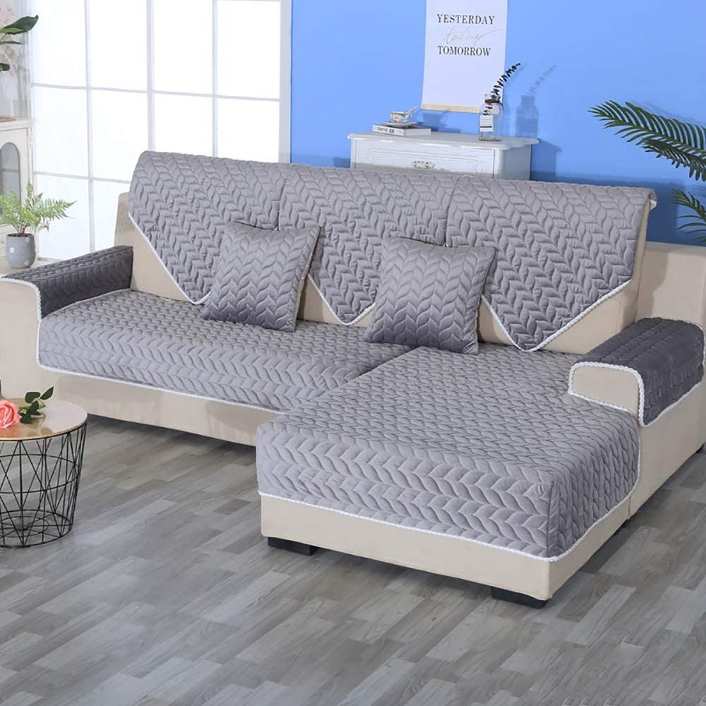Sofa slipcover Reversible Sofa Cover,Velvet Anti-Slip Lace Couch Cover Quilted Furniture Protector for Pet Chair Loveseat Gray 70x240cm(28x94inch)