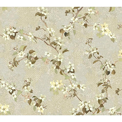 York Wallcoverings TB4216 Charlotte Apple Blossom Trail Wallpaper, Pale Taupe, Grey, Cream, Yellow, Brown, -