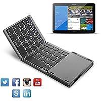 teepao plegable teclado Bluetooth, teepao de tamaño de bolsillo plegable teclado inalámbrico con portátil bolsa de transporte con Touchpad para Tablet Samsung o otros teléfonos móviles, Negro