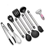 Kitchen Utensils – Cooking Utensil Set Non Stick Non Scratch Nylon and Stainless Steel Cooking Tools Set - Spoon, Strainer, Slotted Spatula, Ladle, Pasta Server, Vegetable Peeler (Black)
