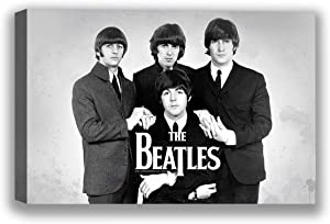 """Funny Ugly Christmas Sweater Beatles Black and White Canvas Photo Art Beatles Canvas Wall Art Monochrome Decor for Home Vintage Print Beatles Fans Gifts Beatles Poster 8"""" x 10"""""""