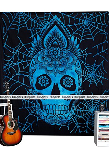 BluSpirits Economic Range of Tapestries from, Beautiful Mandala Wall Hangimgs (Queen Skull Halloween Blue, Blue)