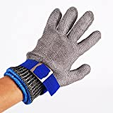 Blue Safety Cut Proof Stab Resistant Stainless Steel Metal Mesh Butcher Glove High Performance Level 5 Protection Size L