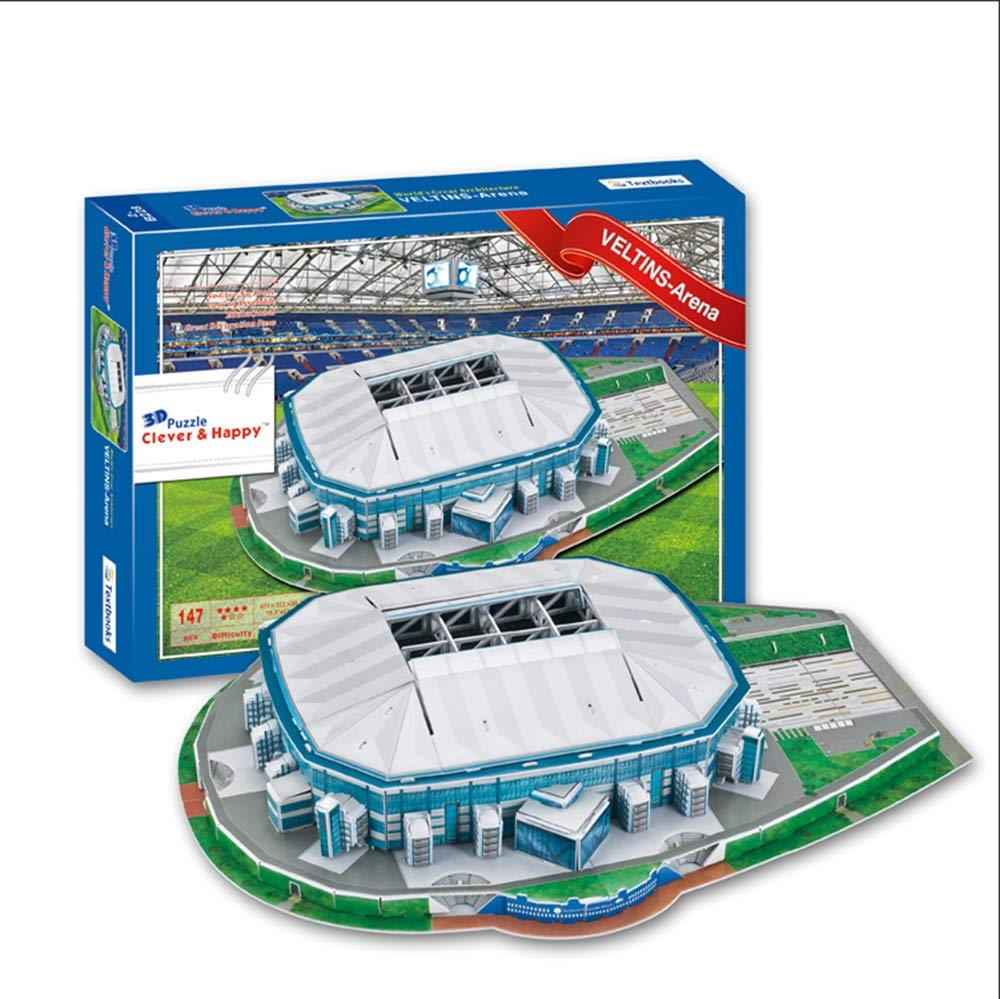 EP-model Sports Stadium Modello 3D, Schalke Veltins Stadium Modello Fans Souvenir Puzzle Fai da Te, 19 x 14  x 4