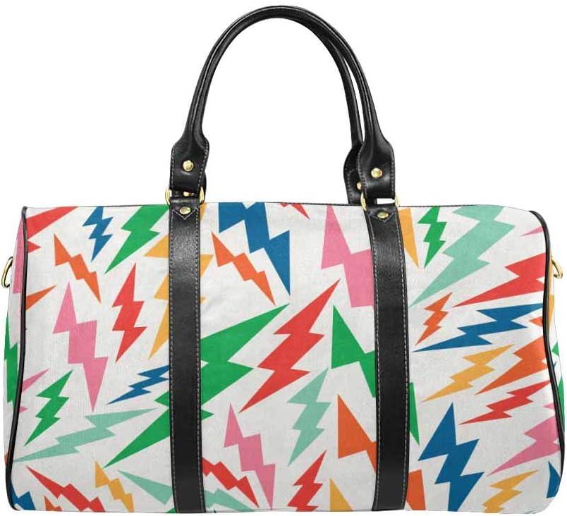 Lightning Bolts Flight Bag Gym Bag Vintage Hipsters InterestPrint Large Duffel Bag