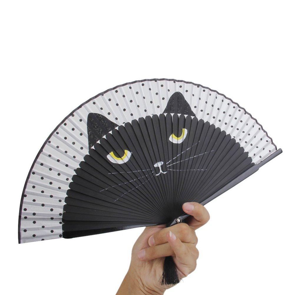 Summer Cute Cat Silk Bamboo Hand Painted Cartoon Cat Folding Fan Party Favour