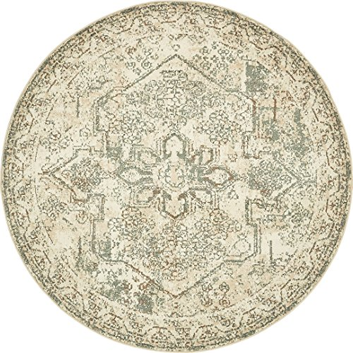 Vintage Traditional Overdyed Cream 8'-Feet Round St. Johns Collection Area rug - Living Dinning Room Bedroom Rugs and Carpets (Round Loom Large)