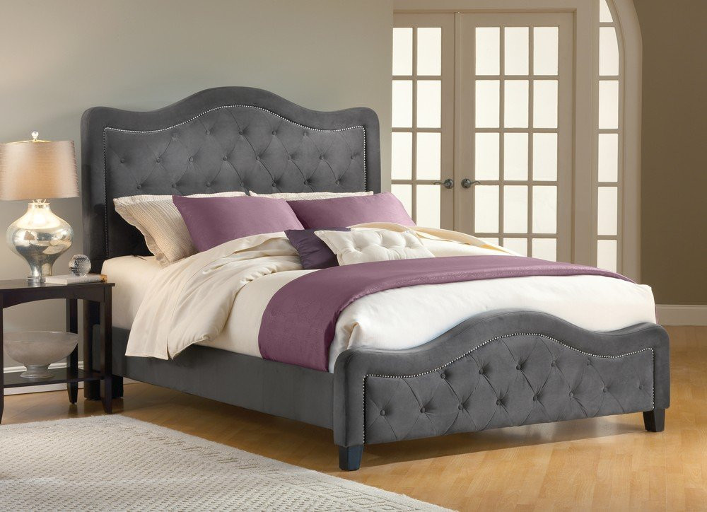 Amazon com  Hillsdale Furniture 1638BQRT Trieste Bed Set with Rails  Queen  Pewter  Kitchen  amp  Dining