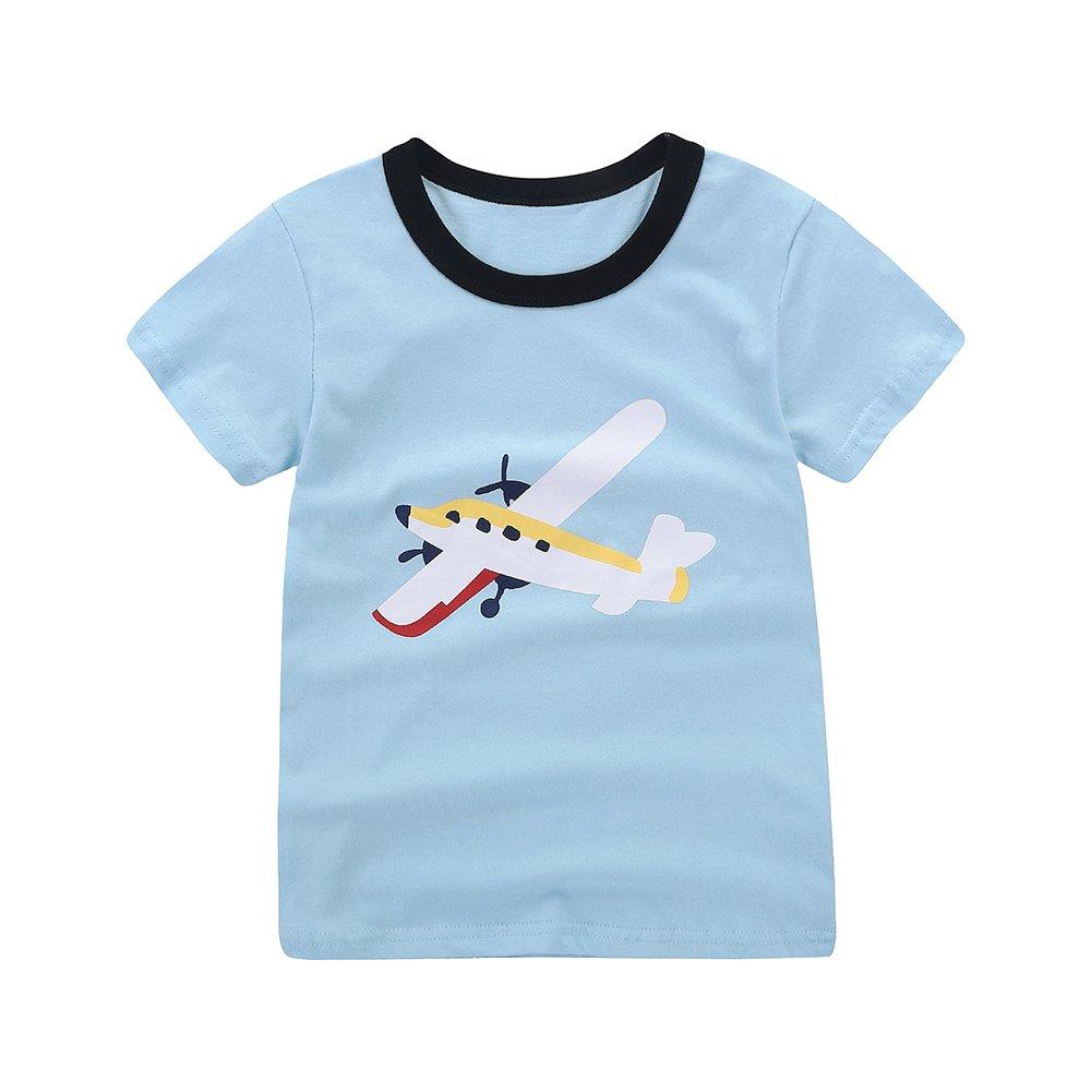 Motecity Fashion Little Boys' Summer Casual Cartoon Printed Set T-Shirt Shorts Blue Plane 2T by Motecity (Image #3)