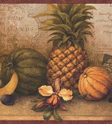 (Vintage Exotic Fruits Map Postcard Brown Wallpaper Border Retro Design, Roll 15' x 8.5'')