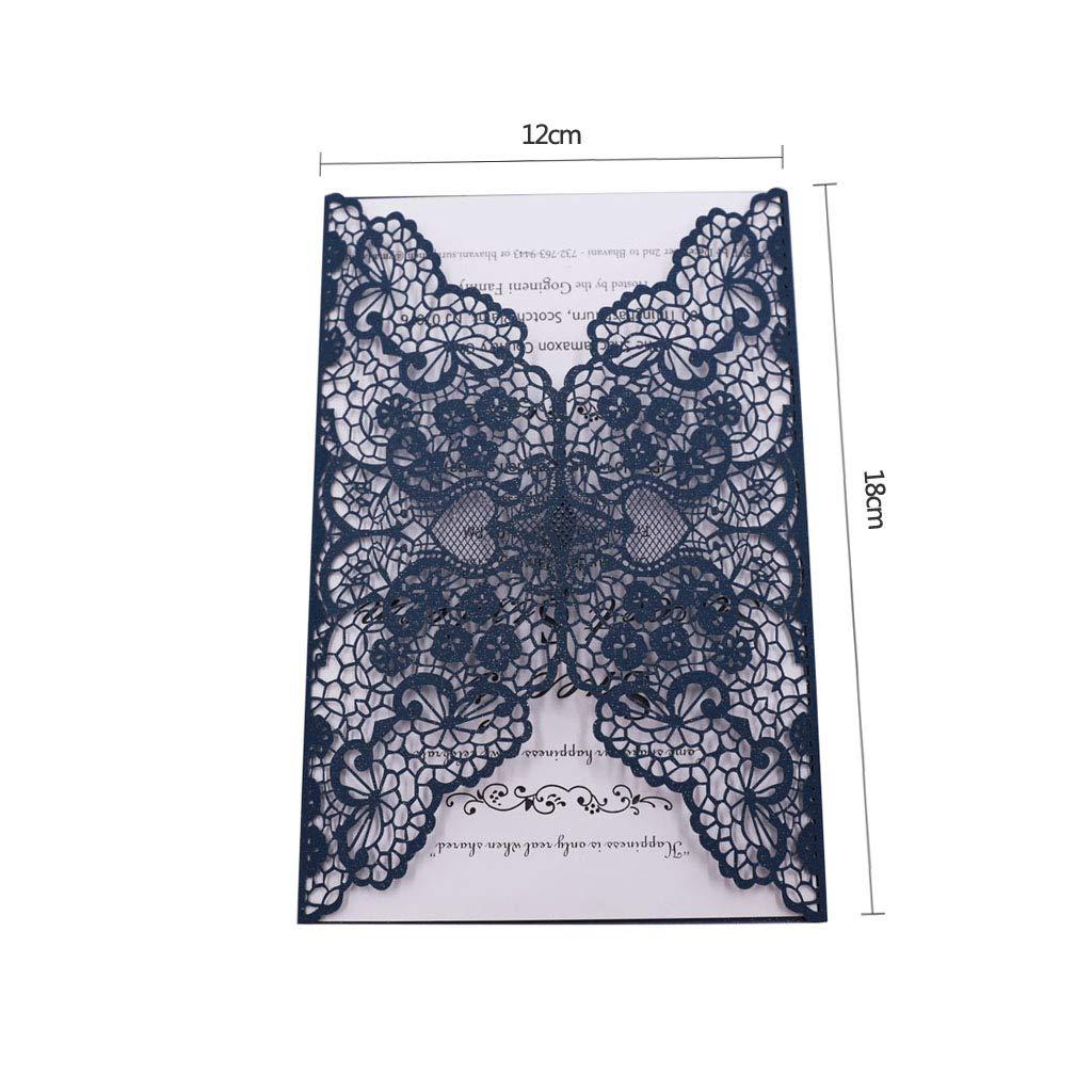 baby shower Azul graduaci/ón fiestas de cumplea/ños CYSKY Kit de tarjetas de invitaciones con corte l/áser 40 paquetes de invitaciones de boda con sobres y tarjetas interiores para bodas