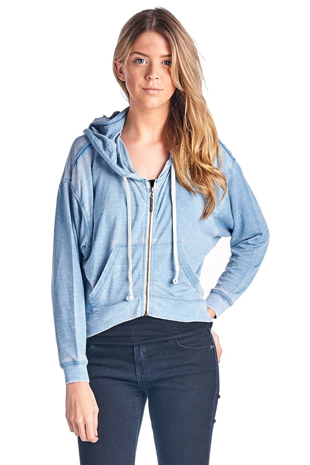 Zip Up Headphones Hoodie Buddie Girls Zip Up Builtin Headphones Short Fit Light Blue