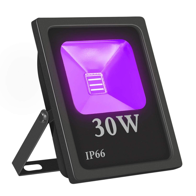 Exulight UV Black Light Outdoor, High Power 30W Ultraviolet LED Flood Light, 85V-265V AC IP66 Waterproof for Party Supplies Curing Glue Fishing Aquarium DJ Disco Birthday Wedding Stage Lighting (30)